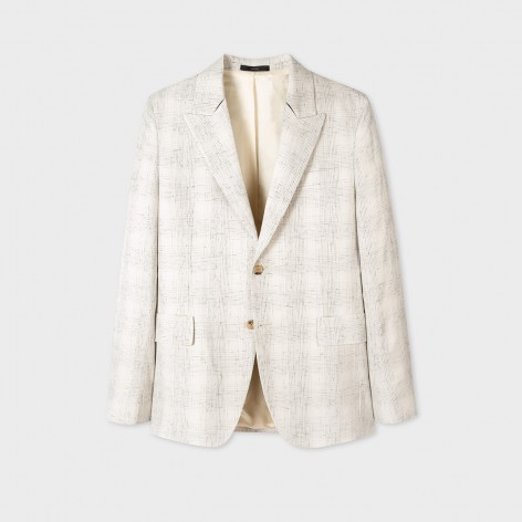 PAUL SMITH BEIGE CHECK WOOL BLEND JACKET M1R-1599-F01425-08