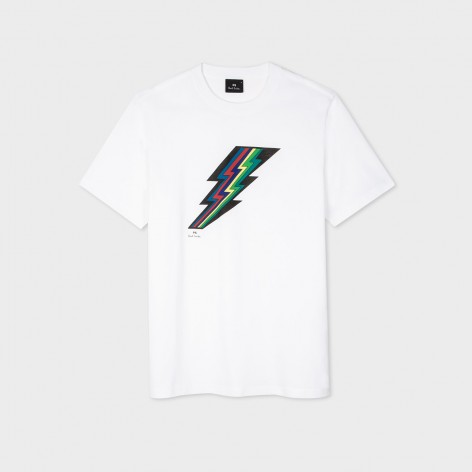 WHITE T-SHIRT WITH THUNDER PRINT PS PAUL SMITH M2R-011R-FP2618-49