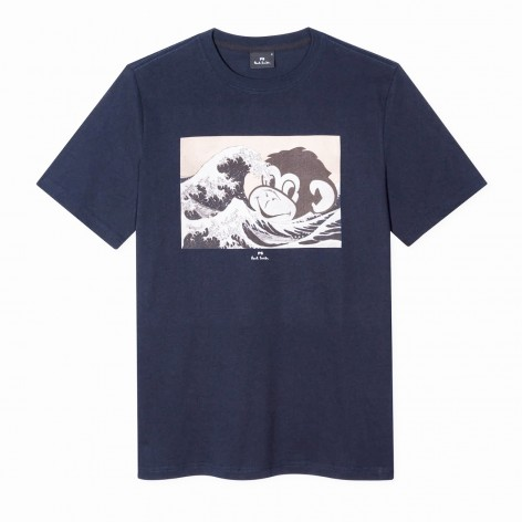 BLUE T-SHIRT WITH OCEAN MONKEY PS PAUL SMITH PRINT