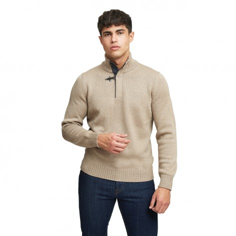 CLAY COLOR HIGH NECK SWEATER WITH FAY HOOK NMMC1432120FJD003R