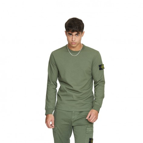 SWEATSHIRT IN SAGE GREEN PLUSH WITH STONE ISLAND PATCH 751564450-V0055