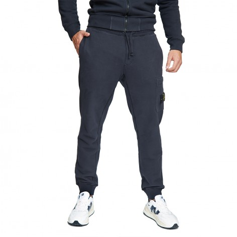 BLUE PLUSH TROUSERS WITH STONE ISLAND PATCH 751564520-V0020
