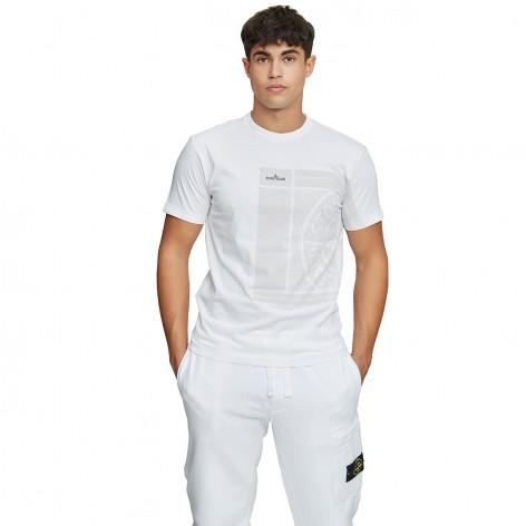 WHITE T-SHIRT WITH STONE ISLAND LOGO 75152NS81-V0001