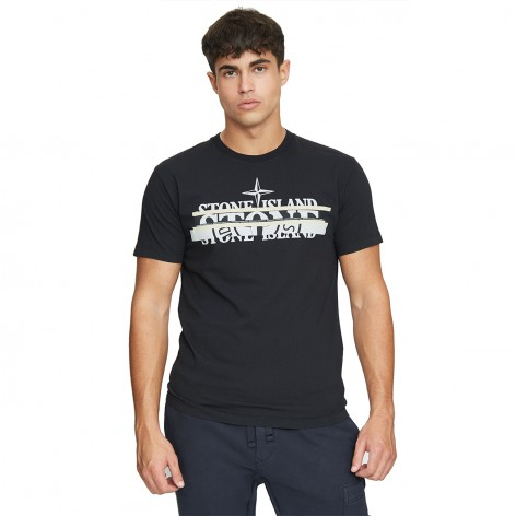 BLACK T-SHIRT WITH STONE ISLAND PRINT LOGO 75152NS82-V0029