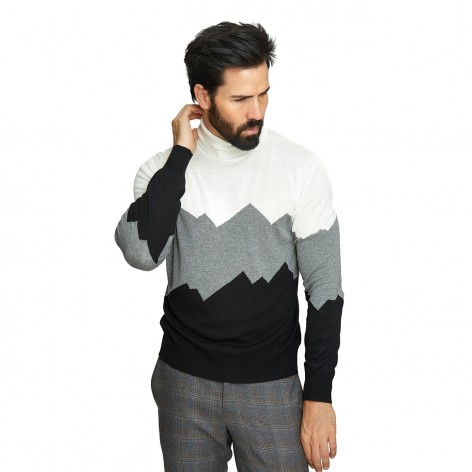 CANALI MOUNTAIN PRINT GOOS NECK SWEATER MY01304