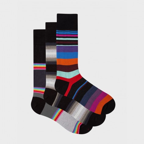 PACK OF 3 PAIRS OF PAUL SMITH STRIPED SOCKS M1A-SOCK-G3PCK1-79-0