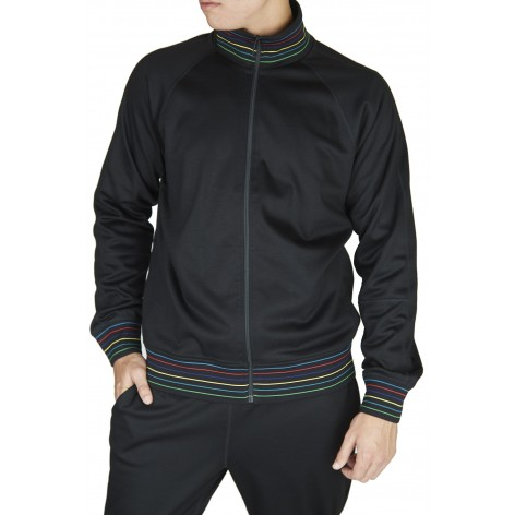 PAUL SMITH BLACK SWEATSHIRT ZIPPER MULTICOLORED