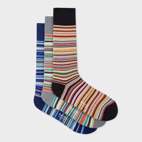 PACK DE TRES CALCETINES A RAYAS PAUL SMITH   M1A-SOCK-APACKM-92-0