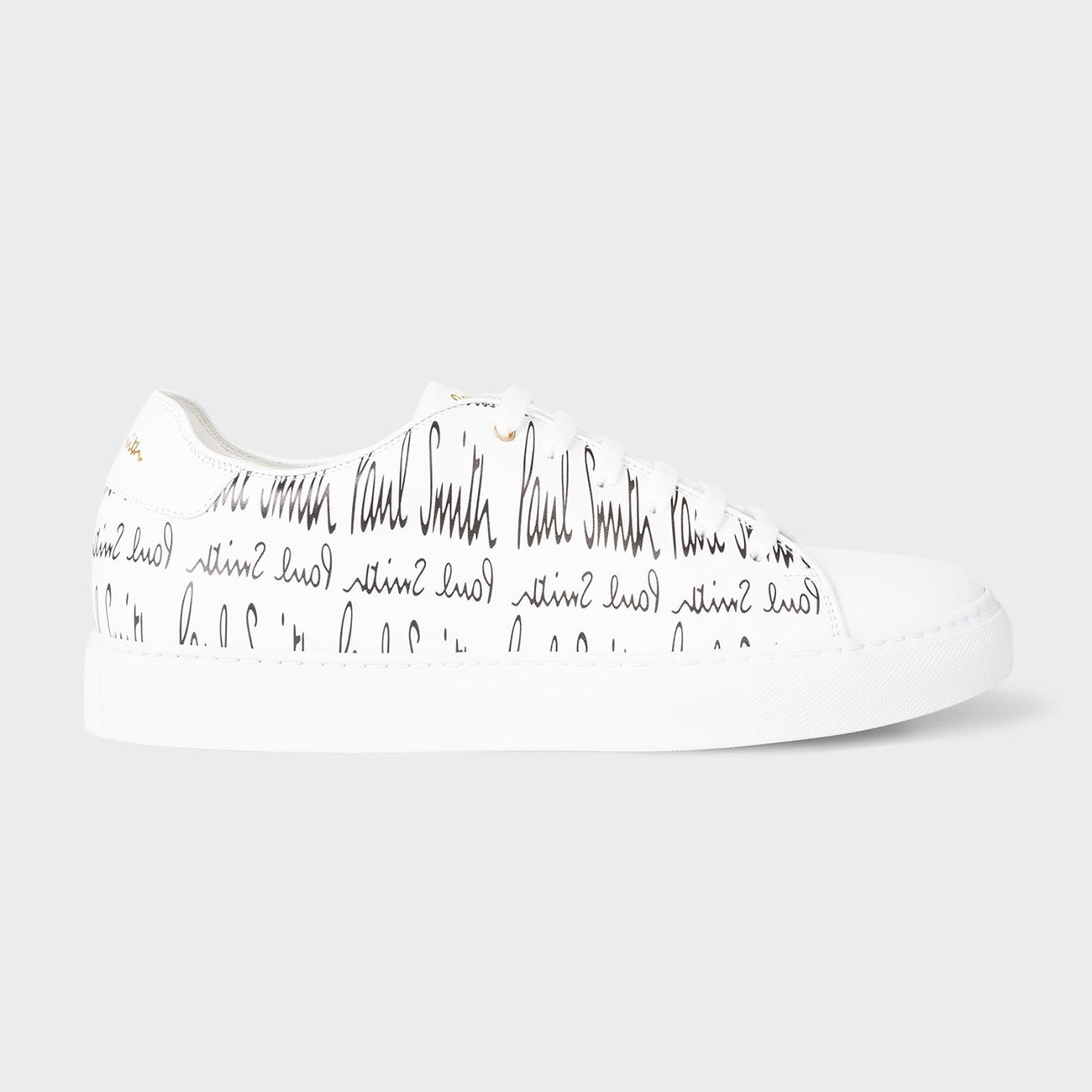 PAUL SMITH WHITE LEATHER 'BASSO' PRINTED SNEAKERS  M1S-BAS82-EDOW-01