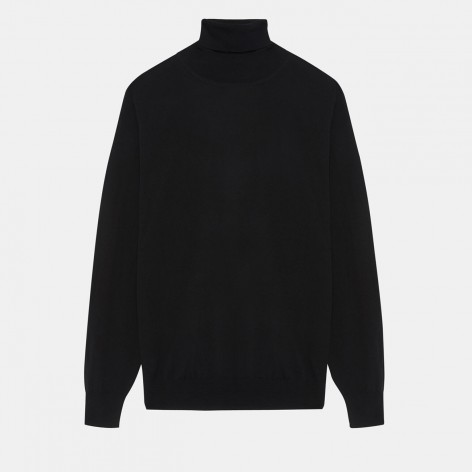 BLACK HIGH NECK SWEATER MERINO ASPESI WOOL M252483101241