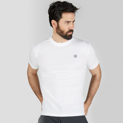 WHITE T-SHIRT WITH STONE ISLAND PATCH 523757-V0001