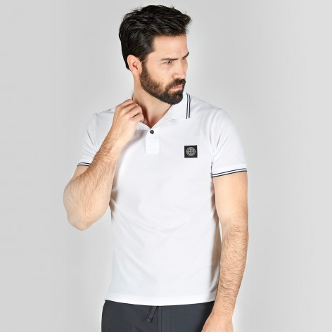 WHITE POLO SHIRT WITH STONE ISLAND PATCH 522S18-V1001
