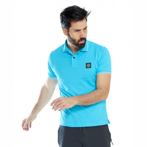 TURQUOISE POLO SHIRT WITH STONE ISLAND PATCH 522S18-V0042