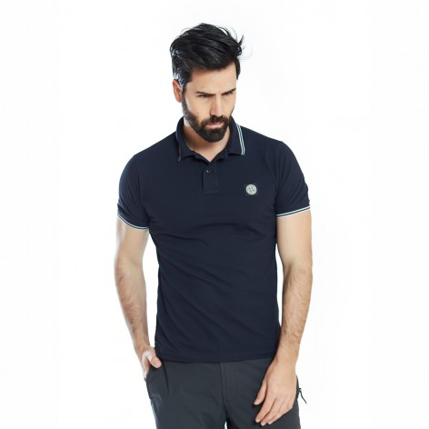 DARK BLUE POLO SHIRT WITH STONE ISLAND PATCH 522S18-V0020