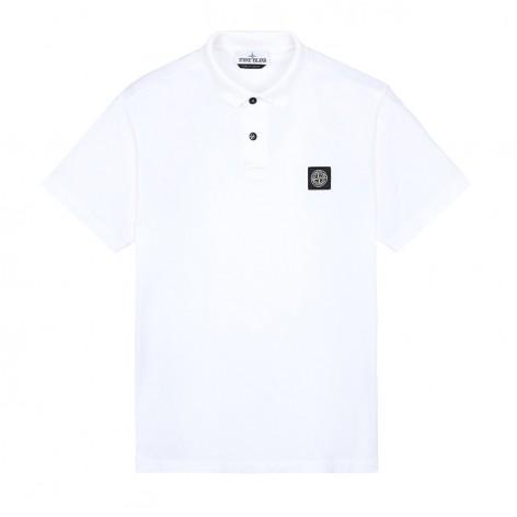 WHITE POLO SHIRT WITH STONE ISLAND PATCH 522613-V0001