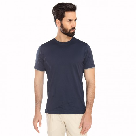 CANALI 691 BLUE SHORT SLEEVE T-SHIRT